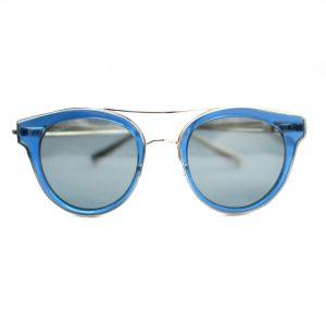 """Damskie okulary przeciwsłoneczne Mocoa w kolorze niebieskim, okrągłe, podwójny """"mostek""""."""