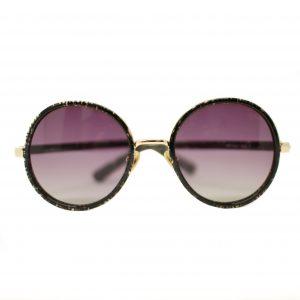Damskie okulary przeciwsłoneczne WES, ręcznie wykonane. Kolor czarny, kształt okrągły, złote detale.