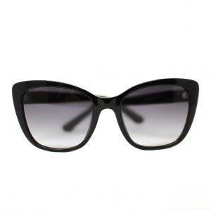 Damskie klasyczne okulary przeciwsłoneczne marki Guess w kolorze czarnym, złote detale.