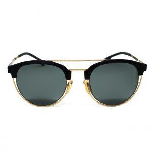 Męskie okulary przeciwsłoneczne Hugo Boss w kolorach czerń+zloto. Okrągły kształt.